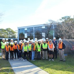 Students and teachers tour Roland-Grise Middle School to see the renovations.